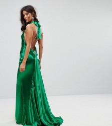 Jarlo High Neck Fishtail Maxi Dress With Open Back Detail - Green