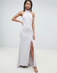 Jarlo high neck fishtail maxi dress with open back detail in grey - Grey
