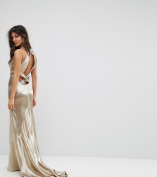 Jarlo High Neck Fishtail Maxi Dress With Strappy Open Back Detail - Gold