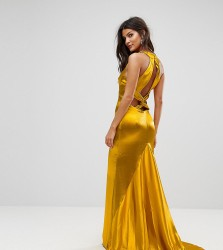 Jarlo High Neck Fishtail Maxi Dress With Strappy Open Back Detail - Orange