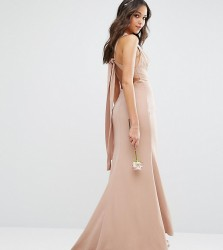 Jarlo High Neck Maxi Dress with Open Back - Beige