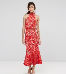 Jarlo High Neck Midi Dress In Lace - Red