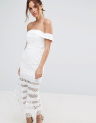 Jarlo Kavita Bardot Midi Dress with Sheer Stripe Skirt - White