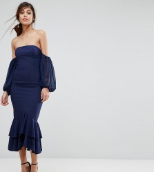Jarlo Midi Off Shoulder Midi Dress With Frill Detail - Navy