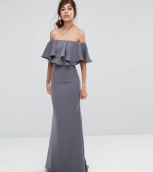 Jarlo Off Shoulder Maxi Dress With Frill Top - Grey