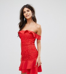 Jarlo Off Shoulder Mini Dress With Layered Skirt Detail - Red