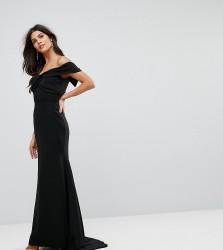 Jarlo Off Shoulder Overlay Maxi Dress - Black