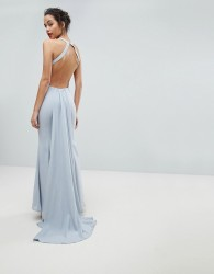 Jarlo Open Back Maxi Dress With Train Detail - Grey