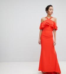 Jarlo Oversized Ruffle Front Maxi Dress - Orange