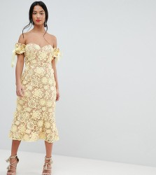Jarlo Petite All Over Cutwork Lace Bardot Midi Dress With Tie Sleeve Detail - Yellow