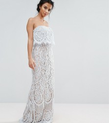 Jarlo Petite All Over Lace Bandeau Maxi Dress - Blue