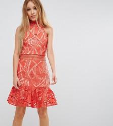 Jarlo Petite All Over Lace High Neck Mini Prom - Orange