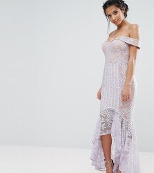 Jarlo Petite All Over Lace Off Shoulder Fishtail Dress - Purple