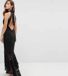 Jarlo Petite Allover Cutwork Lace High Low Maxi Dress With Tie Neck Detail - Black