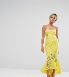 Jarlo Petite Allover Lace Bandeau Midi Dress With Highlow Fishtail - Yellow