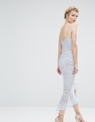 Jarlo Petite Cami Strap All Over Lace Dress Midi With Fishtail Detail - Blue