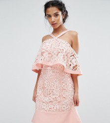 Jarlo Petite Cold Shoulder Cutwork Lace Mini Dress - Pink