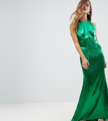 Jarlo Petite High Neck Fishtail Maxi Dress With Open Back Detail - Green