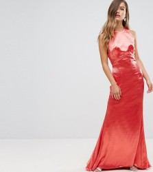 Jarlo Petite High Neck Fishtail Maxi Dress With Strappy Open Back Detail - Red