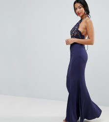 Jarlo Petite High Neck Lace Dress With Tie Back Detail - Navy