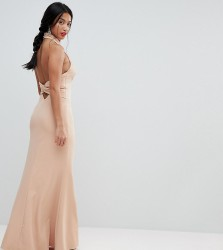 Jarlo Petite High Neck Ruched Open Back Maxi Dress - Pink