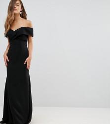 Jarlo Petite Off Shoulder Overlay Maxi Dress - Black