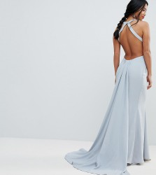 Jarlo Petite Open Back Maxi Dress With Train Detail - Grey