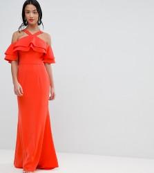 Jarlo Petite Oversized Ruffle Front Maxi Dress - Orange