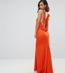 Jarlo Petite Ruffle Open Back Maxi Dress - Orange