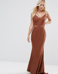 Jarlo Petite Strappy Maxi Dress With Waist Cutout Detail - Brown