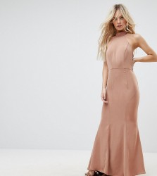 Jarlo Petite Tie Halterneck Fishtail Maxi Dress - Beige