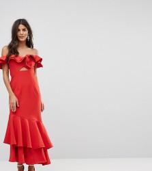 Jarlo Ruffle Bardot Maxi Dress With Cut Out - Red