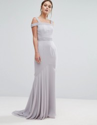 Jarlo Square Neck Cold Shoulder Maxi Dress With Fishtail - Grey