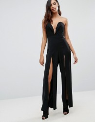 Jarlo Sweetheart Plunge Jumpsuit with Splits - Black