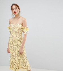 Jarlo Tall All Over Cutwork Lace Bardot Midi Dress With Tie Sleeve Detail - Yellow