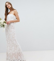 Jarlo Tall All Over Lace Bandeau Maxi Dress - White