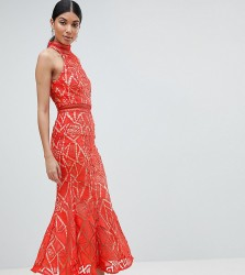 Jarlo Tall All Over Lace High Neck Fishtail Detail Dress - Orange