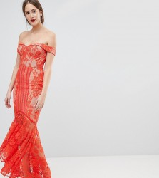 Jarlo Tall All Over Lace Off Shoulder Fishtail Maxi Dress - Orange