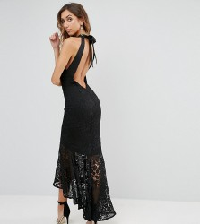 Jarlo Tall Allover Cutwork Lace High Low Maxi Dress With Tie Neck Detail - Black