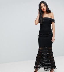 Jarlo Tall Allover Lace Bardot Midi Dress With Fluted Hem - Black