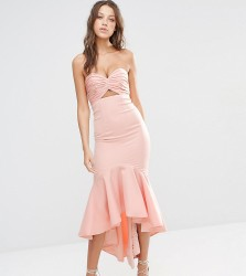 Jarlo Tall Bandeau Cutout Midi Dress With Fishtail Detail - Pink