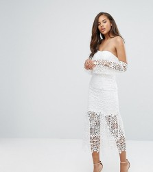 Jarlo Tall Bardot Cutwork Lace Midi Dress - White
