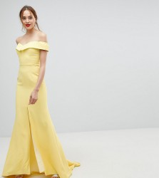 Jarlo Tall Bardot Maxi Dress With Thigh Split And Train Detail - Yellow