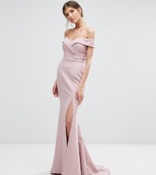 Jarlo Tall Bardot Maxi Dress With Thigh Split And Train - Pink