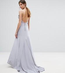 Jarlo Tall Button Back Cami Strap Maxi Dress - Grey