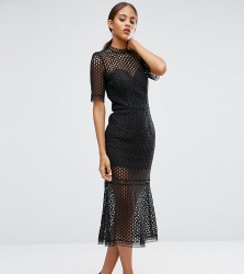 Jarlo Tall Cutwork Lace Overlay Midi Dress - Black