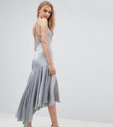 Jarlo Tall Drop Hem Pleated Midi Dress With Cross Back Detail - Blue