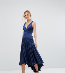 Jarlo Tall Drop Hem Pleated Midi Dress With Cross Back Detail - Navy
