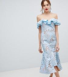 Jarlo Tall Frill Cutwork Lace Off Shoulder Stepped Hem Midi Dress - Blue