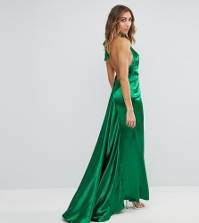 Jarlo Tall High Neck Fishtail Maxi Dress With Open Back Detail - Green